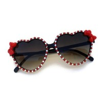 Rhinestone Bow Heart Shaped Sunglasses