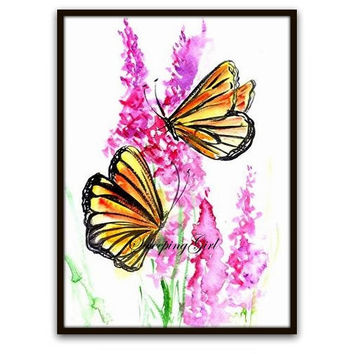Monarch Butterfly abstract watercolor painting nursery baby girl print wall art artwork decor boy print inspirational home liningroom decal