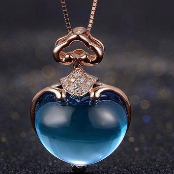 Heart Blue Topazs Diamond 18k Rose Gold Pendant Necklace Wedding Birthday Valentine's Mother's Day