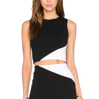 Alice + Olivia Cathleen Crop Top in Black & White