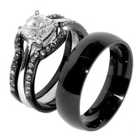 His & Hers 4 PCS Black IP Stainless Steel CZ Wedding Ring Set/Mens Matching Band