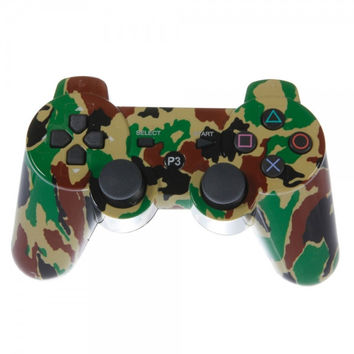 Wireless Bluetooth Plastic Controller with General Keys for Sony PS3 Camouflage Yellow + Green
