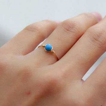 Sleeping Beauty Turquoise Ring,Blue Gemstone Ring,4mm,5mm available,14K gold filled,wire wrapped ring,Dainty ring,December Birthstone,tiny