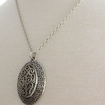 Ornate Oval Filigree Antiqued Silver Necklace, Stainless Steel Necklace, Stainless Chain, Pewter Pendant, Gift under 30