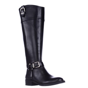 I35 Fedee Harness Strap Wide Calf Riding Boots, Black, 6 US