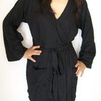 Code :E-10 Bewitching Robe in Black,Robe with Pockets,Perfect gift for her