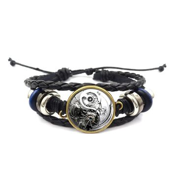 Steam Punk Yin Yang Tai Chi Black and White Braided Rope Bracelet - Simplee Hippie