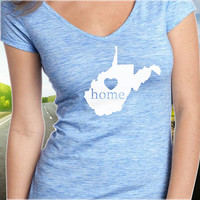 West Virginia Home T-Shirt - V-Neck - State Pride - Home Tee - Clothing - Womens - Ladies