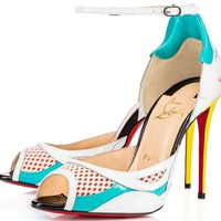 NEW Christian Louboutin Discodeporte 100 Red Sole Pumps Sandals Shoes Sz 37 7