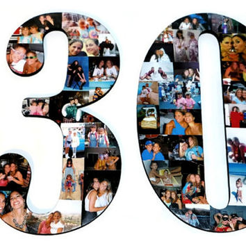 "30th Birthday Number Photo Collage Huge 18"" Two Digit Letter Collage Anniversary Party Senior Night Jersey Number Graduation  2015"