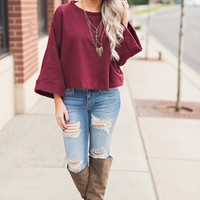 Odessa Cropped Sweater (Burgundy)