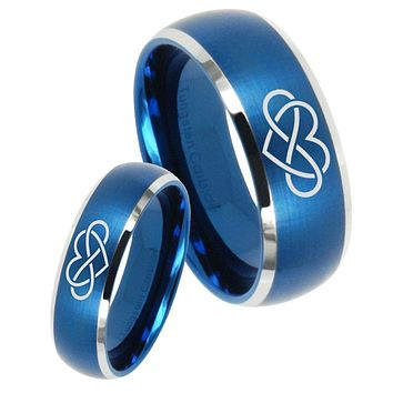 His Her Satin Blue Dome Infinity Love Two Tone Tungsten Wedding Rings Set