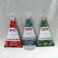 Santa Softie Ornament in Red, Green or Blue Winter Snowflakes