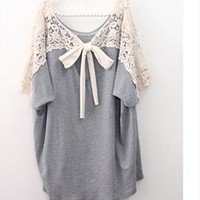 Crochet lace tie back oversize blouse