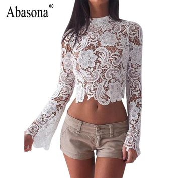 Abasona Women White Lace Blouse Long Sleeve Hollow Out Crochet Women Tops Back Zipper Sexy Party Club Wear Blouses Shirts Femme