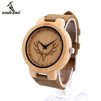 Round Vintage Deer Head Bamboo Wood Quartz Analog Wrist Watch For Top Luxury Men Watch With Leather Strap In Gift Box