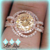 Rare Round Champagne Morganite Engagement Ring in Diamond Double Halo Setting 14K Gold