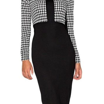 Black Houndstooth Patchwork Office Pencil Midi Dress