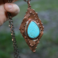 copper pendant, hammered pendant, handmade pendant, howlite necklace, gemstone pendant, boho necklace, gift pendant, blue copper necklace