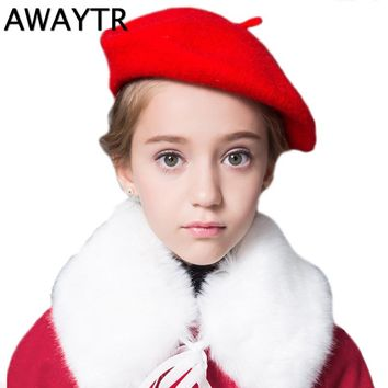 Beret Girls AWAYTR Winter Child Beret Hat Solid Colors Wool Warm Hats Dome Cap Girl Fashion Caps Baby Girl Fur Berets