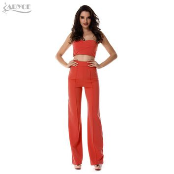 Women's 2Pc Sleeveless Strapless Top & Loose Fit Pant Set