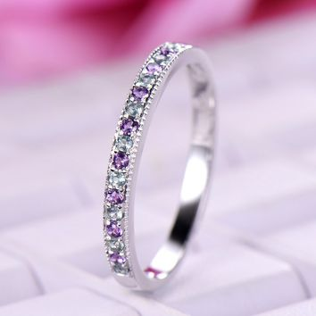 Amethyst Topaz Wedding Band Half Eternity Anniversary Ring 14K White Gold