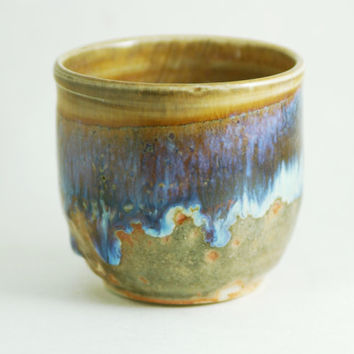 4 oz Ounce Porcelain Tea Bowl, Blue & Light Brown Wine Glass Tumbler Unique Coffee Mug Cup Handleless, Handmade Wheel Thrown yunomi pottery