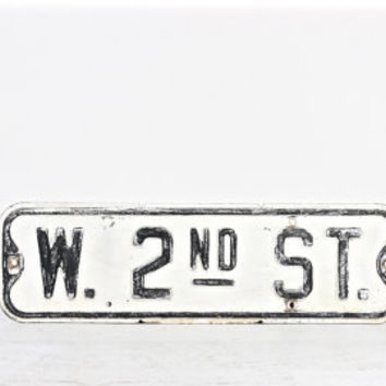 Street Sign, W. 2nd Street Sign, Vintage Street Sign, Traffic Sign, Black and White Street Sign, Industrial Decor, Old Street Sign