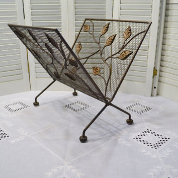 Vintage Magazine Newspaper Rack Holder Metal Folding Copper Tone Leaf Leaves Design PanchosPorch