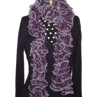 Handmade Knitted Purple Ruffle Scarf