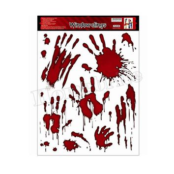2017 New Arrivals Halloween Horror bloody glass stickers Halloween Toys Carnival Masquerade RPG Blood fingerprint patterns HW248