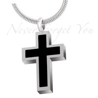 "Cremation ""Black Inlay Cross"" Urn Necklace"