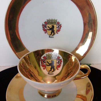 ON SALE Plankenhammer Floss Trio Set - Tea Cup - Saucer & Plate Vintage BAVARIA Berlin Germany Coat of Arms Porcelain