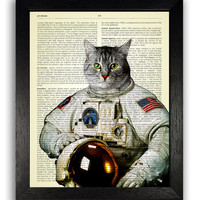 Cat in Nasa Space Suit Wall Art, Space Cat Poster, Kitten Art Print, Cat Wall Decor, Kids Bedroom Artwork, Kitty Wall Decal, Cat Poster