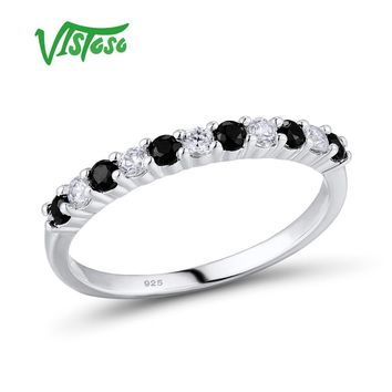 VISTOSO Silver Ring For Women Engagement Wedding Anniversary Dazzling Black Spinel Genuine 100% 925 Sterling Silver Fine Jewelry