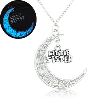 Glowing In the Dark Moon Pendant Necklaces Silver Plated Chain Letter Charms Crescent Choker Necklaces Gift For Mom Best Friend