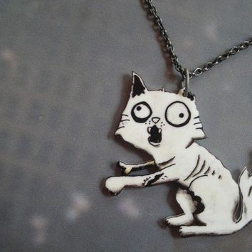 Zombie Kitty necklace by theringleader on Etsy