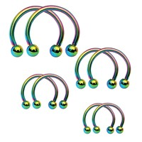 BodyJ4You Piercing Ring Horseshoe Barbell Rainbow Steel 16G Septum Nipple Set 8 Pieces