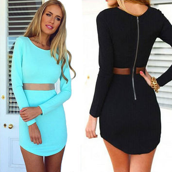 Fashion Zipper Gauze Tight Long Sleeve Mini Dress