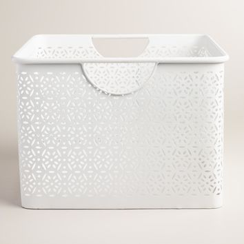 Large White Metal Mia Storage Bin