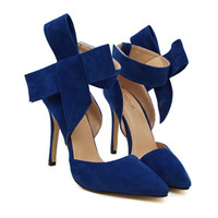 Super Big Bowknot Pointed High Heel Peep-toe Women Sandals  blue