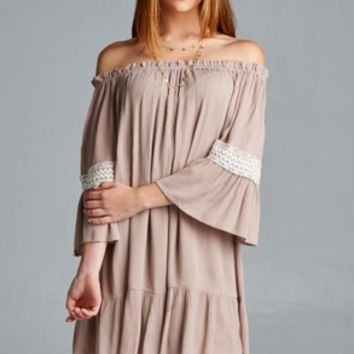 Off-The-Shoulder Dress With Lace Trim