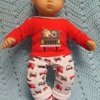 "American Girl Bitty Baby clothes Bitty Twins BOY ""On The Go"" (15 inch)  playset top pants socks Raccoon Fox Cars Trucks"