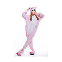 Unisex Adult Pajamas  Cosplay Costume Animal Onesuit Sleepwear Suit  Pink Pig
