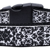Fancy Black and White Nylon Ribbon Dog Collars Medium