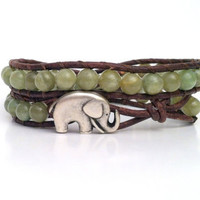 Good Luck Elephant Wrap, Charm Bracelet, Green Garnet Gemstones, Chan Luu Style