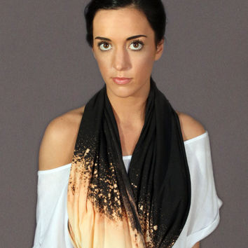 Black Galaxy Scarf - Black Dyed Infinity Scarf