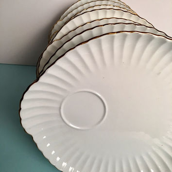 10 Snack Set Plates, Vintage 1930's Staffordshire China Wedding Gift, White Luncheon Plates, Bridal Baby Shower Tea, Wedding China