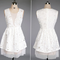 White Lace MeshFloral Dress