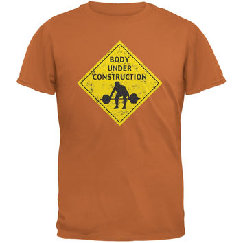 Body Under Construction Funny Texas Orange Adult T-Shirt